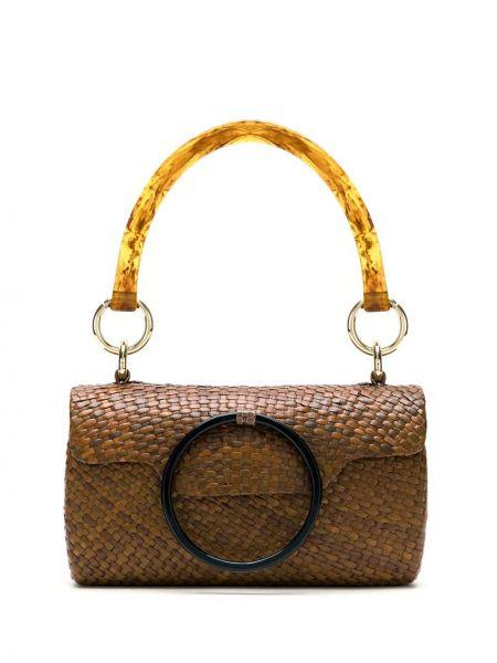 Золотистая коричневая соломенная сумка Serpui