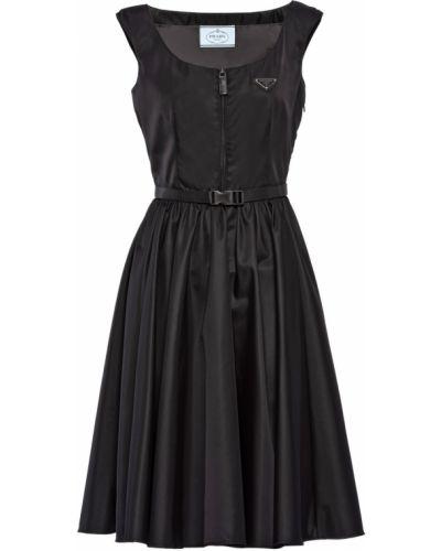 Платье на молнии - черное Prada