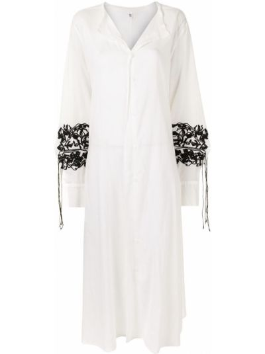 Хлопковое белое платье макси с драпировкой Y`s