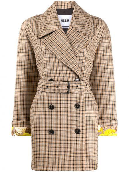 Пальто с поясом - коричневое Msgm