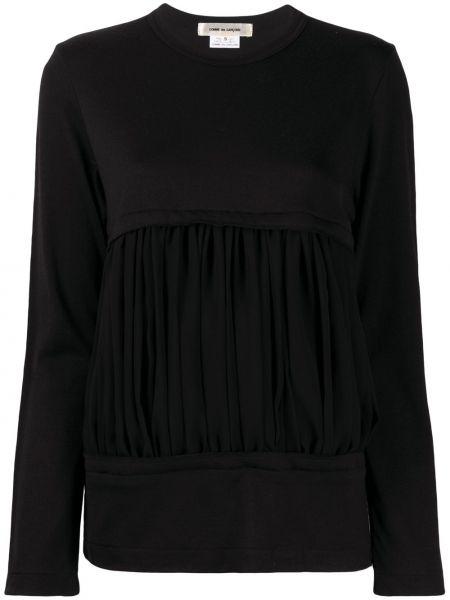 Prążkowany czarny top z długimi rękawami Comme Des Garcons