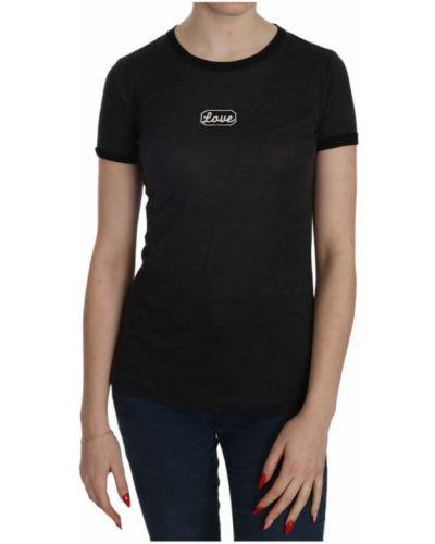Z rękawami czarny t-shirt okrągły Dolce And Gabbana