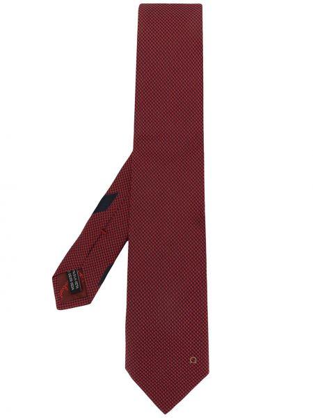 Красная шелковая резинка для волос с вышивкой Salvatore Ferragamo