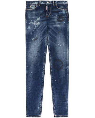 Синие джинсы с эффектом потертости Dsquared2