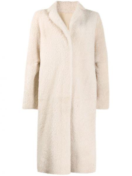 Однобортное кожаное длинное пальто с капюшоном Liska