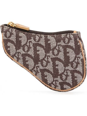 Brązowy skórzany torba z łatami Christian Dior