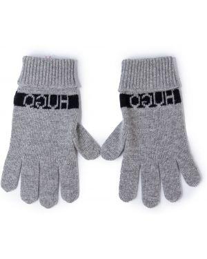 Z kaszmiru szare rękawiczki Hugo
