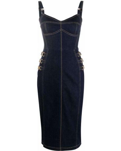 Приталенное прямое синее джинсовое платье Elisabetta Franchi