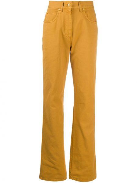 Желтые прямые джинсы с нашивками с карманами на пуговицах Fendi