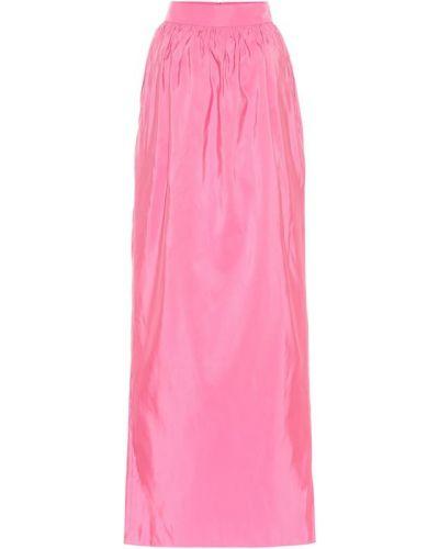 Ażurowa różowa spódnica maxi z jedwabiu Carolina Herrera