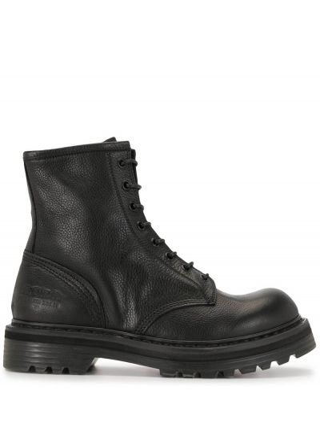 Czarne ankle boots skorzane koronkowe Premiata