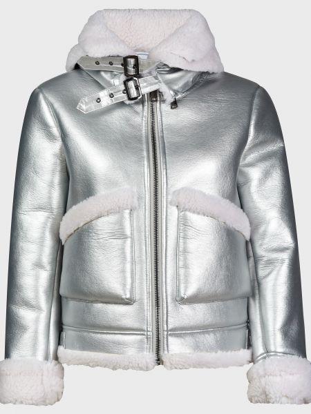 Дубленка с мехом - серебряная Forte Dei Marmi Couture