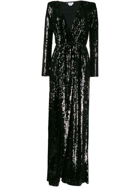 Черное платье макси с пайетками с вырезом Elisabetta Franchi