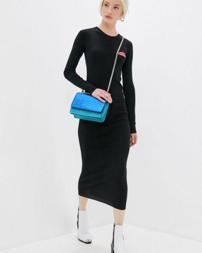 Трикотажное вязаное черное платье Iceberg