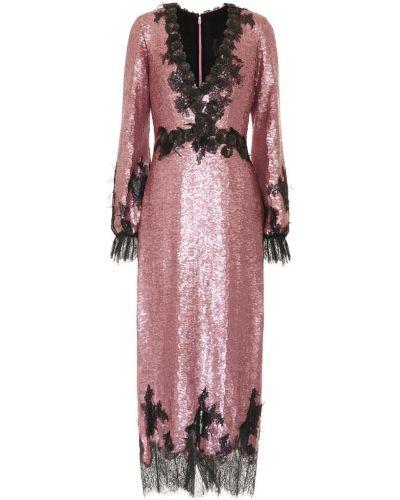 Вечернее платье розовое с пайетками Costarellos