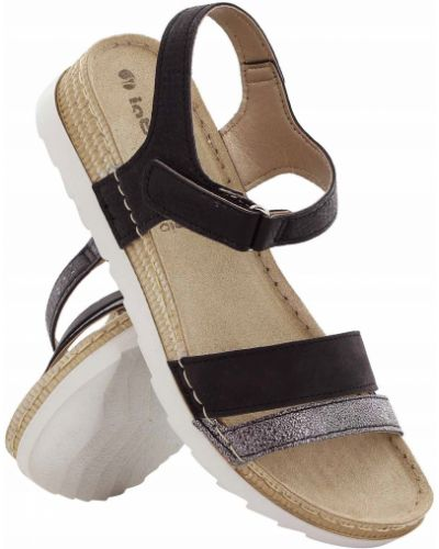 Czarne sandały skorzane na rzepy Inblu