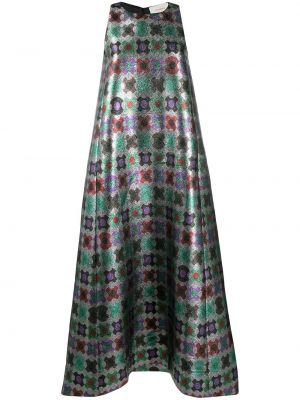 Серебряное шелковое платье без рукавов La Doublej