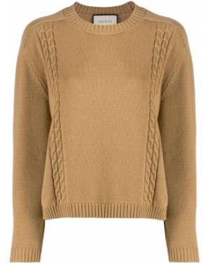 Шерстяной коричневый вязаный джемпер с круглым вырезом с длинными рукавами Gucci