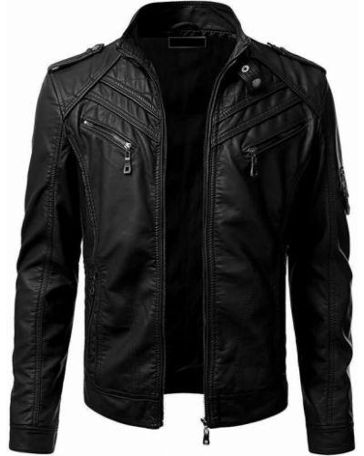 Кожаная куртка с воротником - черная Rozetka