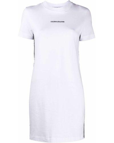 Прямое с рукавами белое платье мини Calvin Klein Jeans