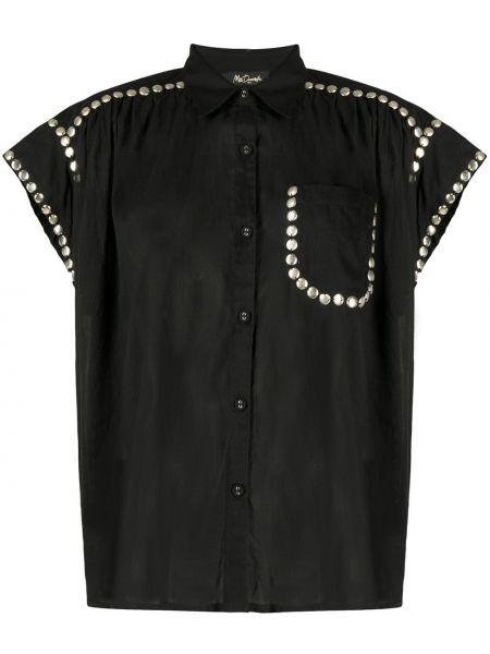 Серебряная рубашка с коротким рукавом с воротником с карманами с заплатками Mes Demoiselles