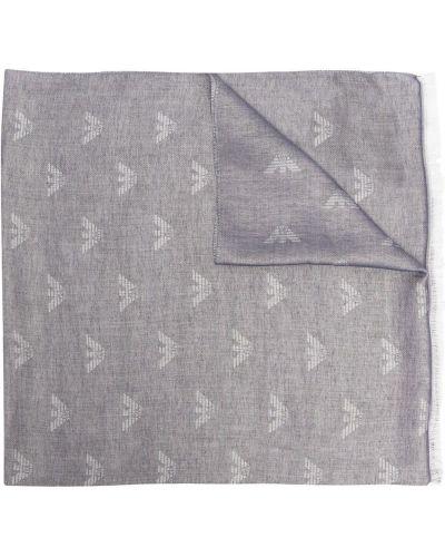 Niebieski szalik z printem z wiskozy Emporio Armani