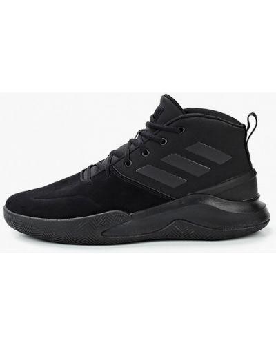 Кожаные черные высокие кроссовки Adidas