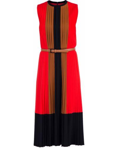 Платье миди кожаное с вырезом Michael Kors