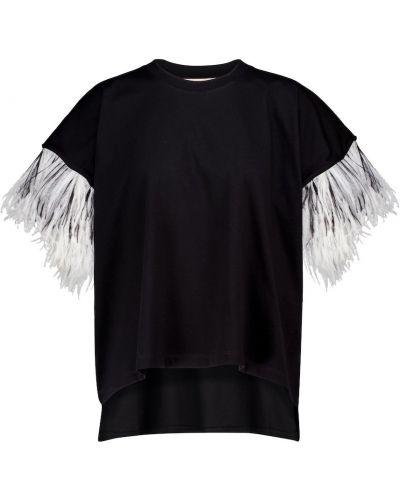 Хлопковая с рукавами черная рубашка Christopher Kane
