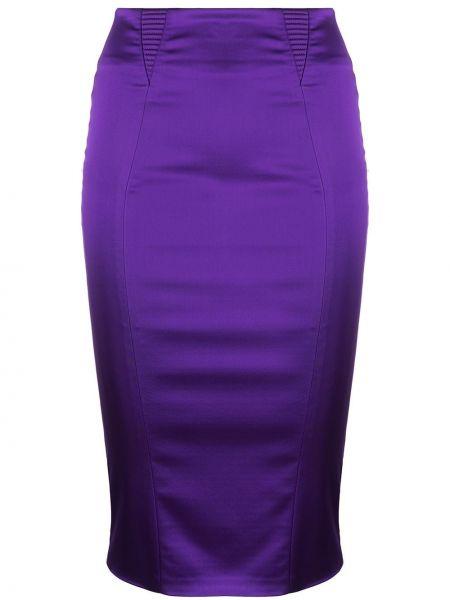 Satynowa fioletowa spódnica z wysokim stanem Murmur