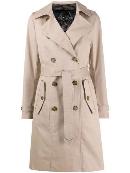 Нейлоновое бежевое длинное пальто с воротником с поясом Mackage
