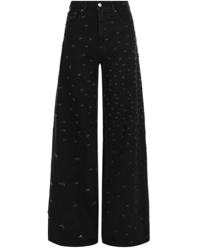 Расклешенные джинсы с эффектом потертости черные Mm6