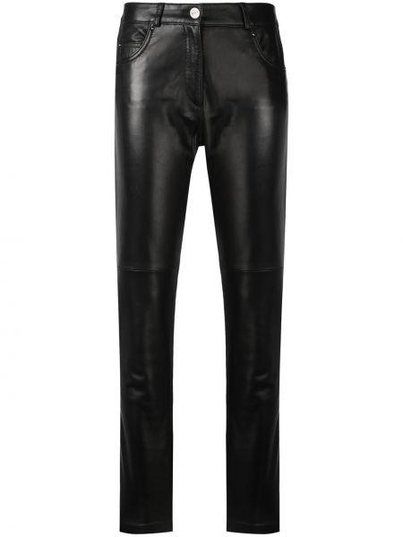 Czarne spodnie z wysokim stanem skorzane Barbara Bui