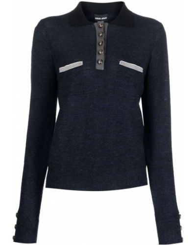 Синяя рубашка с длинным рукавом с длинными рукавами Giorgio Armani