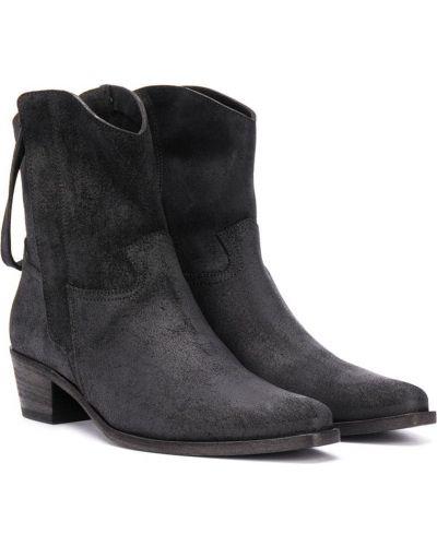 С ремешком кожаные черные ботинки на каблуке Cinzia Araia Kids