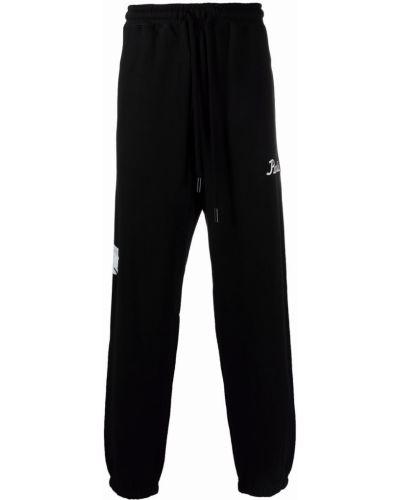 Czarne spodnie bawełniane z haftem 3.paradis