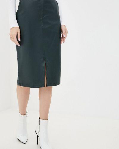 Зеленая кожаная юбка Trendyol