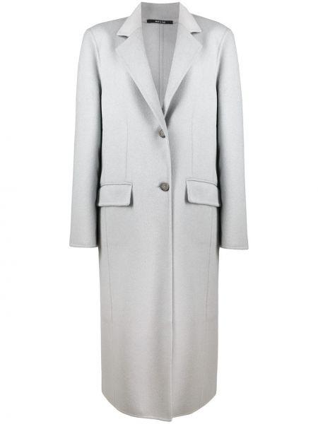 Однобортное коралловое шерстяное длинное пальто на пуговицах Maison Margiela