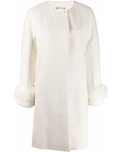 Шерстяное белое пальто с воротником Max Mara Studio
