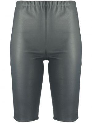 Серые кожаные шорты без застежки David Koma