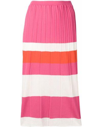 Ажурная розовая юбка миди в рубчик с рукавом 3/4 Chiara Bertani