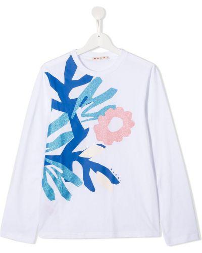 Белая хлопковая прямая футболка с круглым вырезом Marni Kids