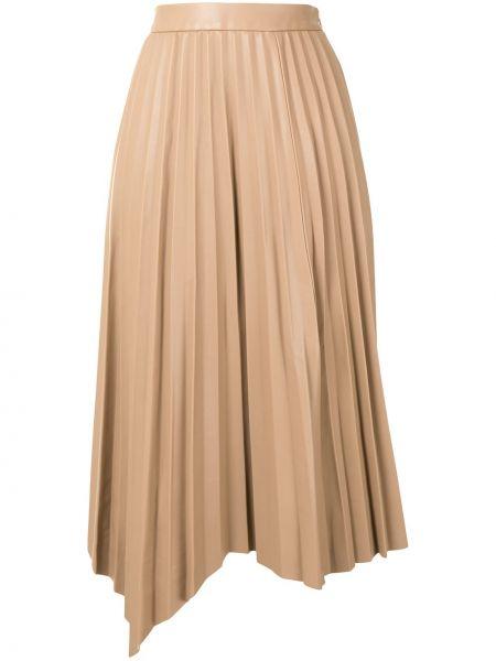 Brązowy z wysokim stanem asymetryczny spódnica midi z kieszeniami Jonathan Simkhai