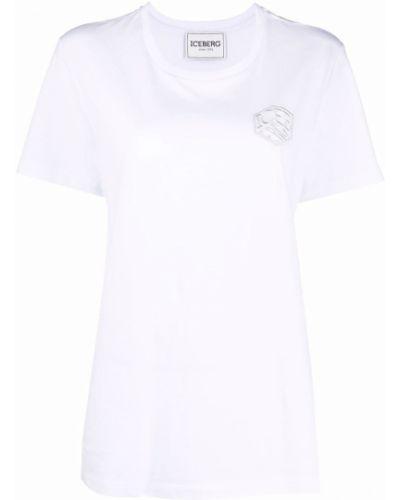Белая прямая футболка с вырезом с вышивкой Iceberg
