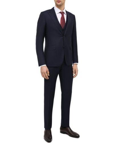 Темно-синий шерстяной костюм-тройка для офиса Ermenegildo Zegna