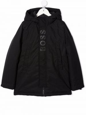 Długi płaszcz z kapturem - czarny Boss Kidswear