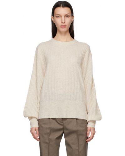 Шерстяной белый длинный свитер с воротником Won Hundred