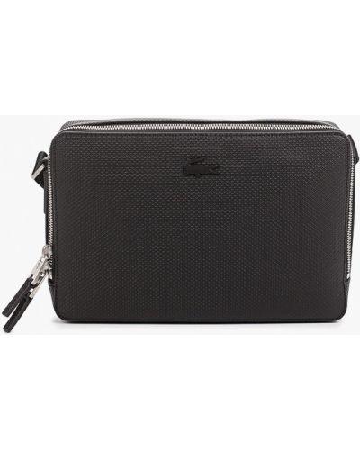 Черная сумка через плечо из натуральной кожи Lacoste