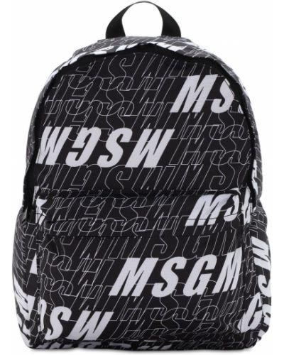 Czarny plecak z nylonu z printem Msgm