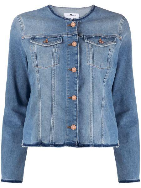 Синяя джинсовая куртка на пуговицах с опушкой 7 For All Mankind